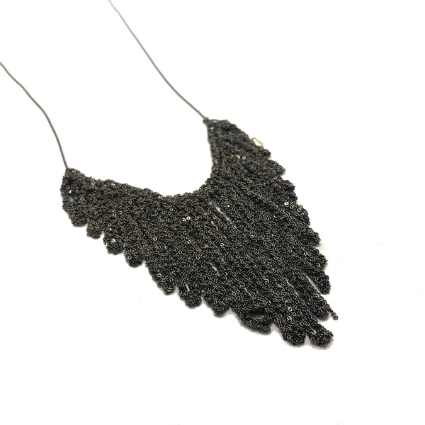 Arielle de Pinto Blackened Silver Fringe Necklace