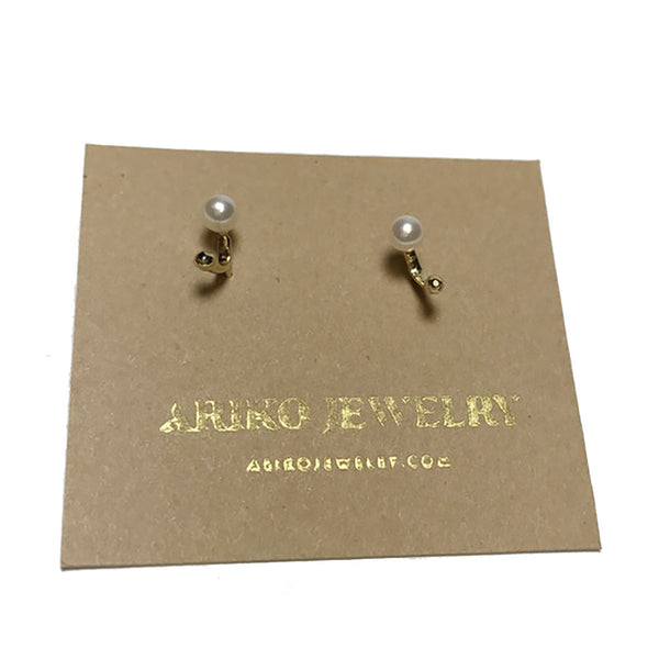 Ariko Pearl + Black Diamond Earrings