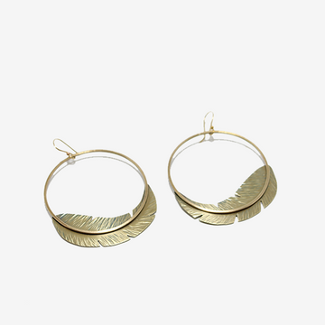 Tiny Anvil Feather Hoop Earrings