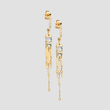Celine Daoust 14k Gold Moonstone & Diamond Fringe Earrings