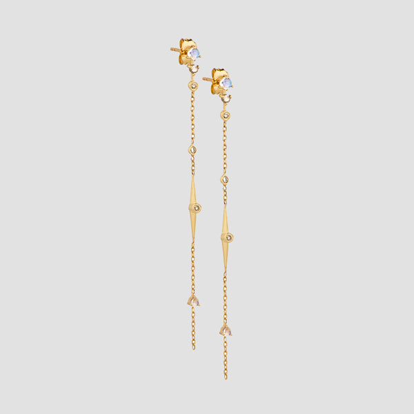 Celine Daoust 14k Gold Moonstone & Diamond Long Chain Earrings