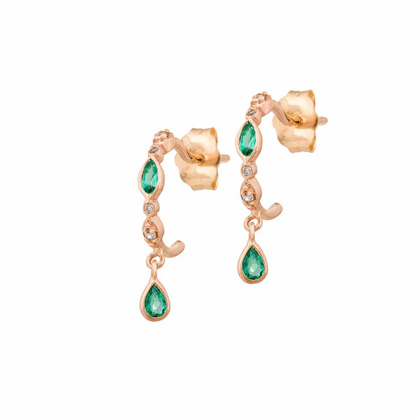 Celine Daoust 14k Rose Gold Emerald Earrings