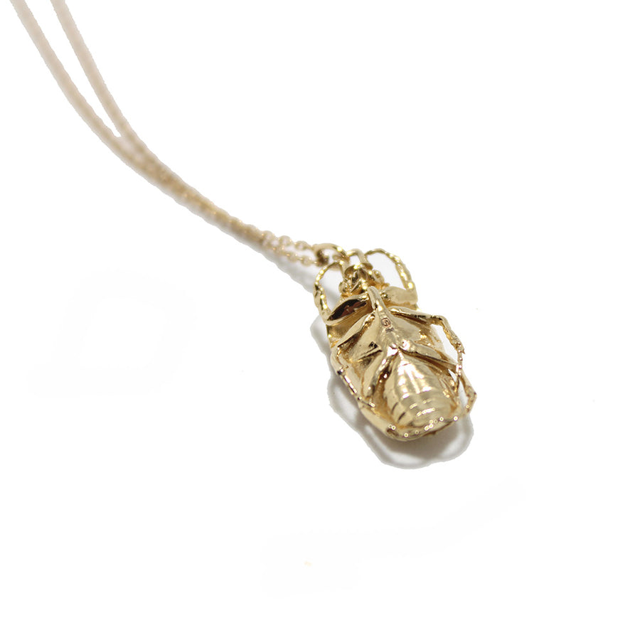 Celine Daoust 14k Gold Scarab Beetle Necklace with diamond