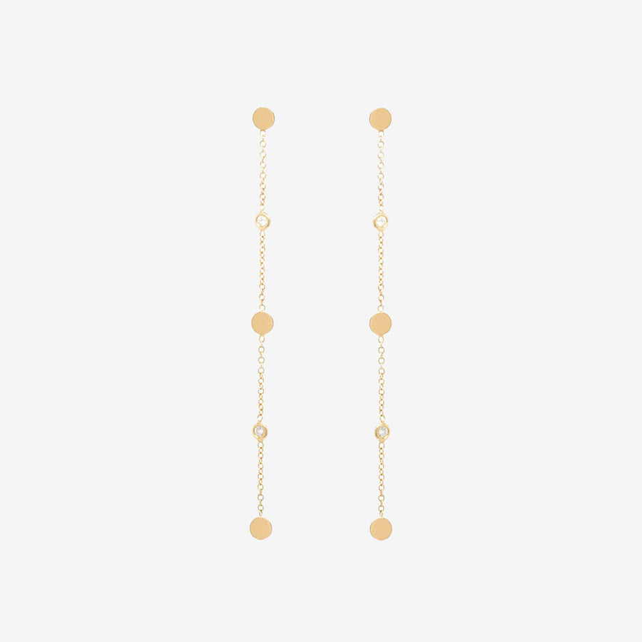 Zoe Chicco 14k Gold Disc + Diamond Drop Earrings