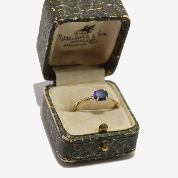 Elisabeth Bell 14k Lightning Ridge Black Opal Ring