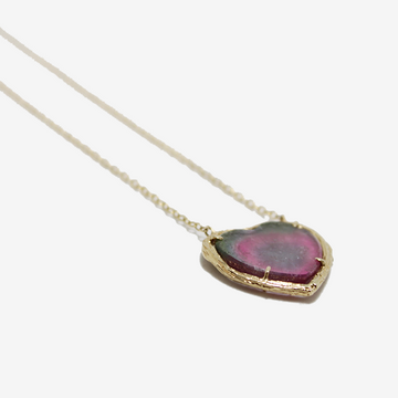 Elisabeth Bell Watermelon Tourmaline Heart Necklace