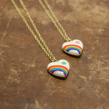 Elisabeth Bell Vintage Rainbow Heart Necklace