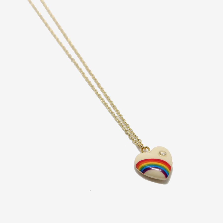 Elisabeth Bell small white Vintage Rainbow Heart Necklace