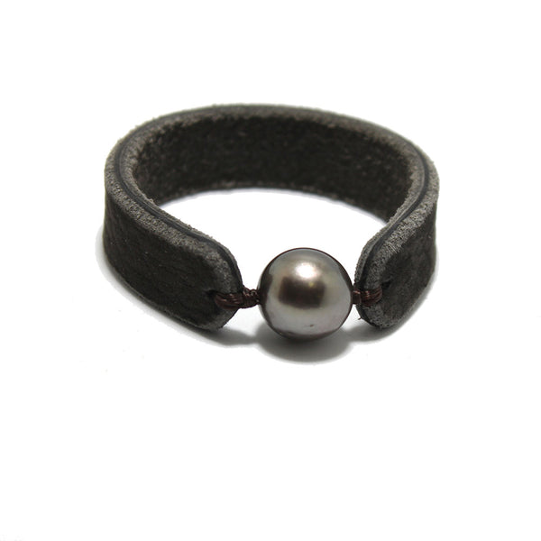 Fait Main Tahitian Pearl Leather Bracelet