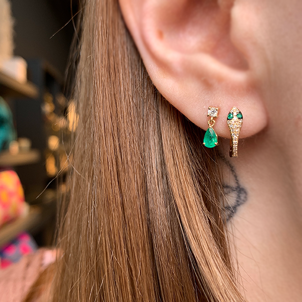 Gem Token 14k Diamond & Emerald Drip Earrings