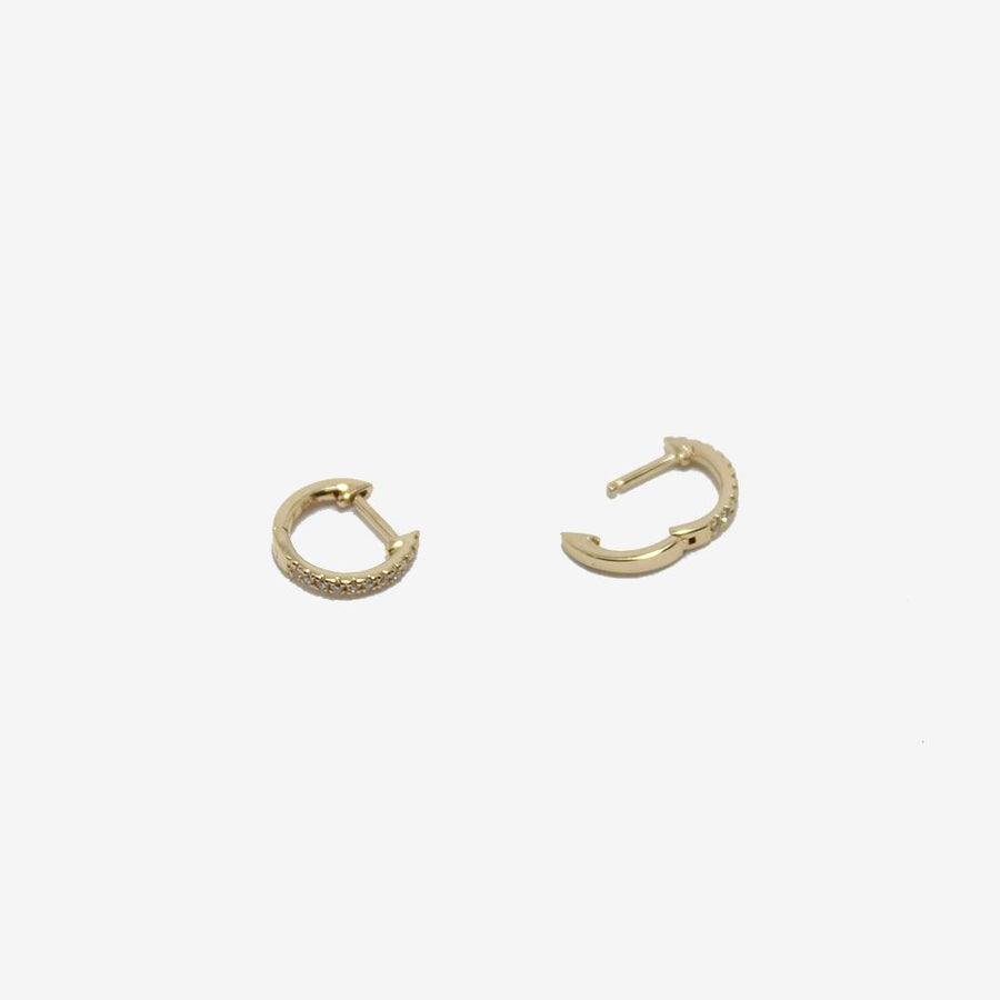 Gem Token 14k Gold Diamond Huggie Hoops