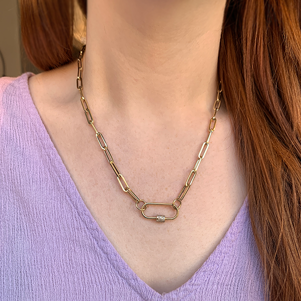 Gem Token 14k Gold Paperclip Chain & Carabiner Necklace