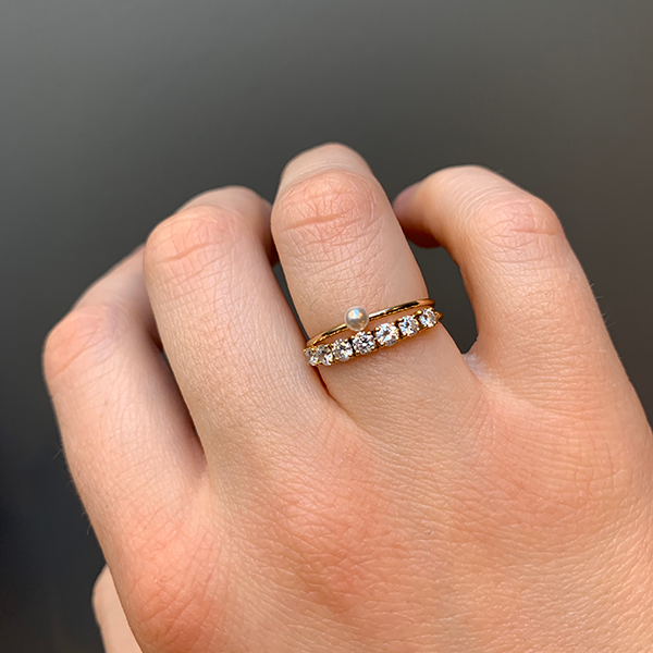 Gem Token 14k Gold Pearl Stacking Ring