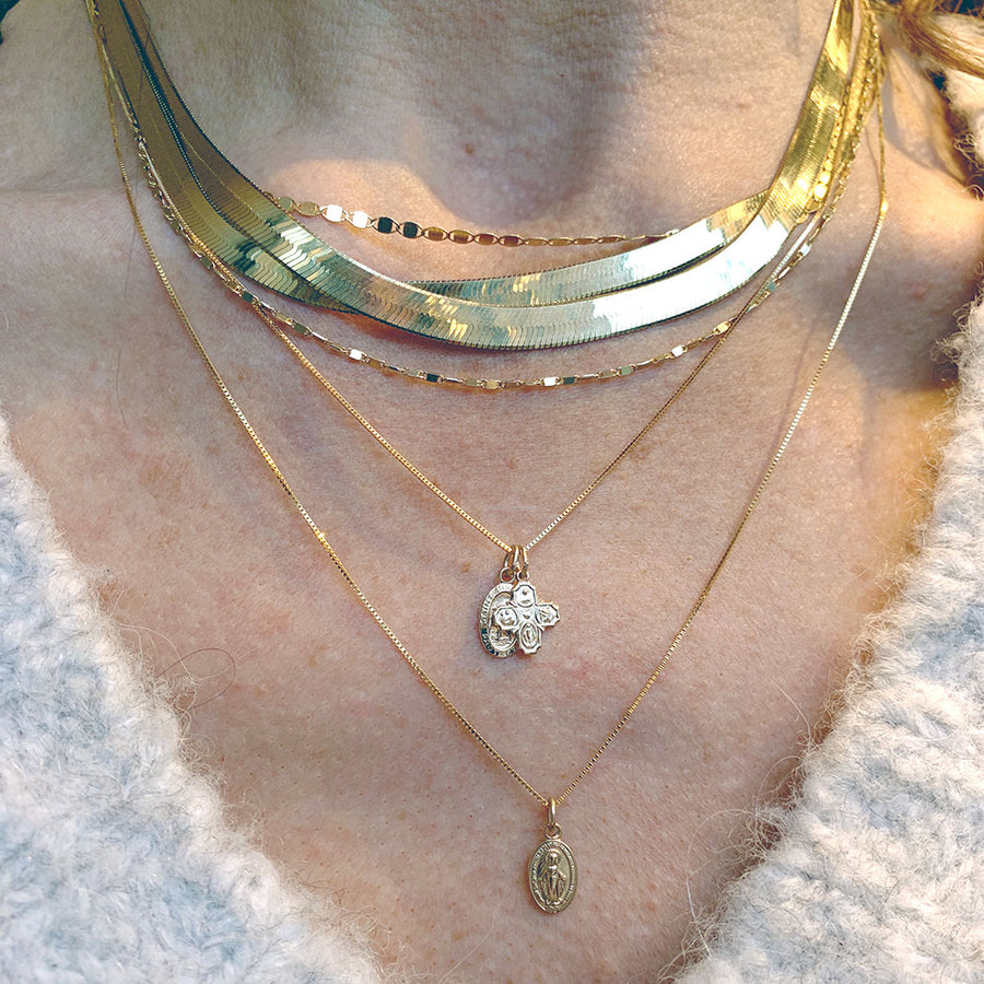 14k Herringbone Chain Necklace - 4mm