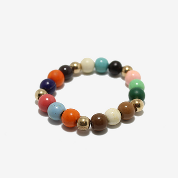 Gem Token Beads + Gold Ball Bracelet