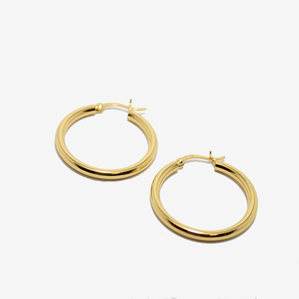 Gem Token Classic Gold Hoops