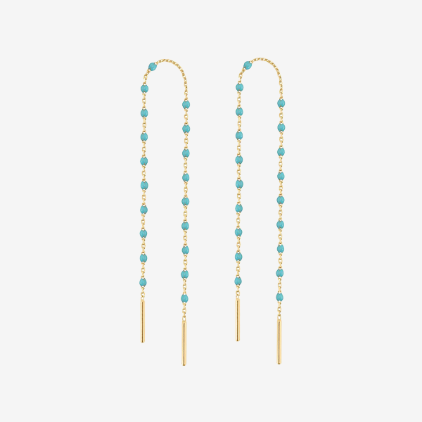 Gigi Clozeau 18k Gold Mini Turquoise Green Earrings