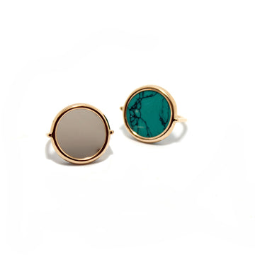 Ginette NY 18k Turquoise Disc Ring