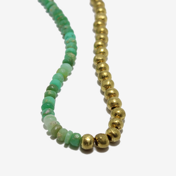 Gem Token Chrysoprase + Brass Necklace