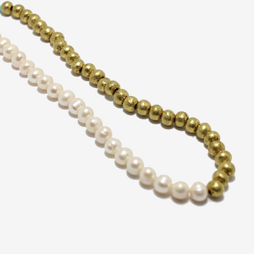 Gem Token Pearl + Brass Necklace