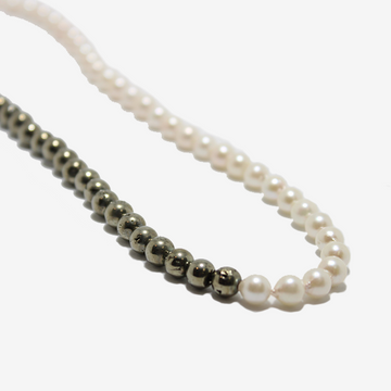 Gem Token Pearl + Pyrite Necklace