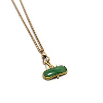 Gem Token Victorian Watch Fob + Jade Necklace