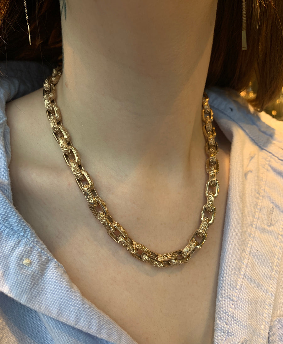 Handmade Bronze Large Link Necklace