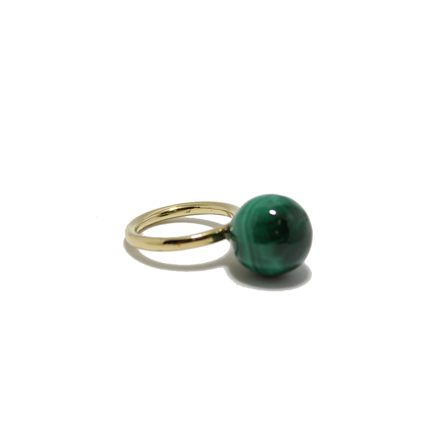 Bronze Malachite Globe Ring