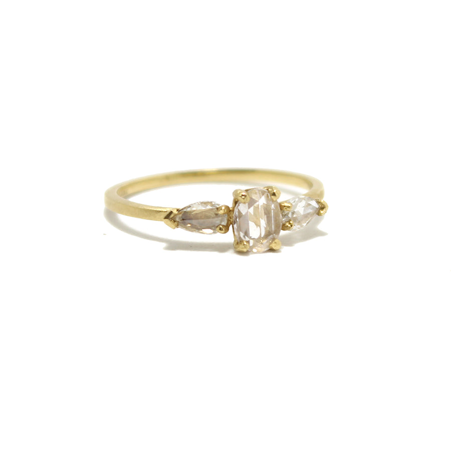 Jennifer Dawes Three Stone + Rose-cut Diamond Ring