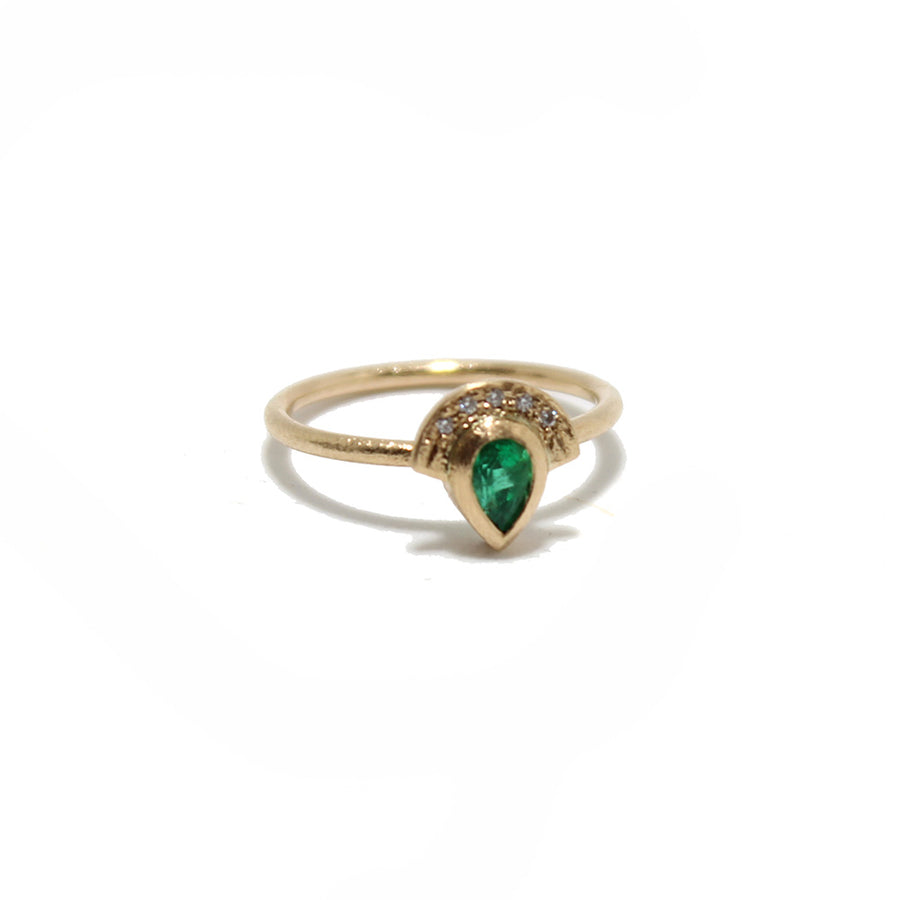Justin Brown Jewelry Emerald Half Halo Ring