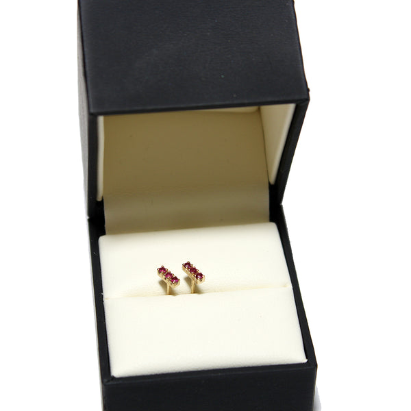 Justin Brown Jewelry Small 14k Ruby Bar Earrings
