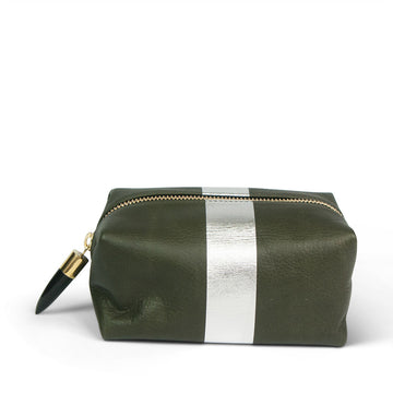 Kempton & Co. Army Green & Silver Cosmetic Case
