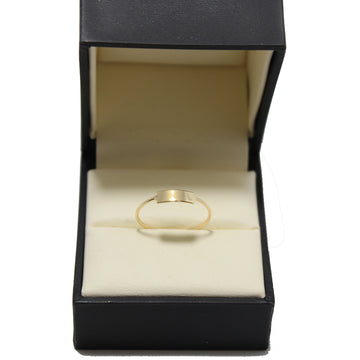 A thin 14k gold band with a small rectangular shaped plate