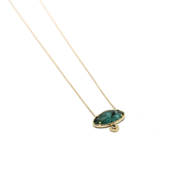 Lio&Linn - Emerald and Black Diamond Necklace