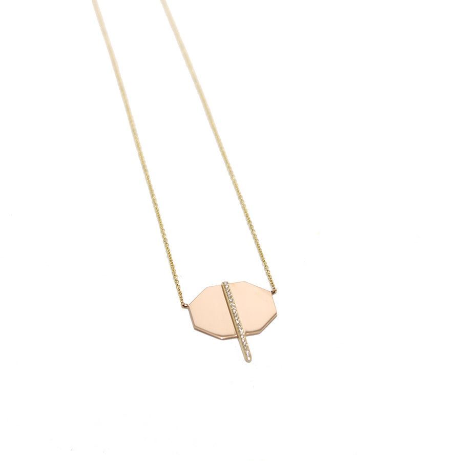 Lito Mixed Metal + Diamond Bar Necklace