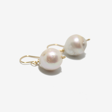 Gem Token Pearl Drop Earrings