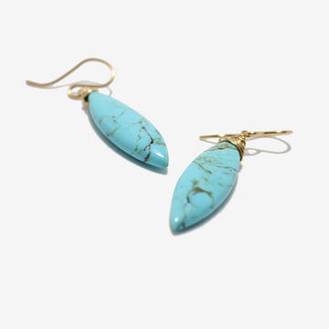Gem Token Turquoise Drop Earrings