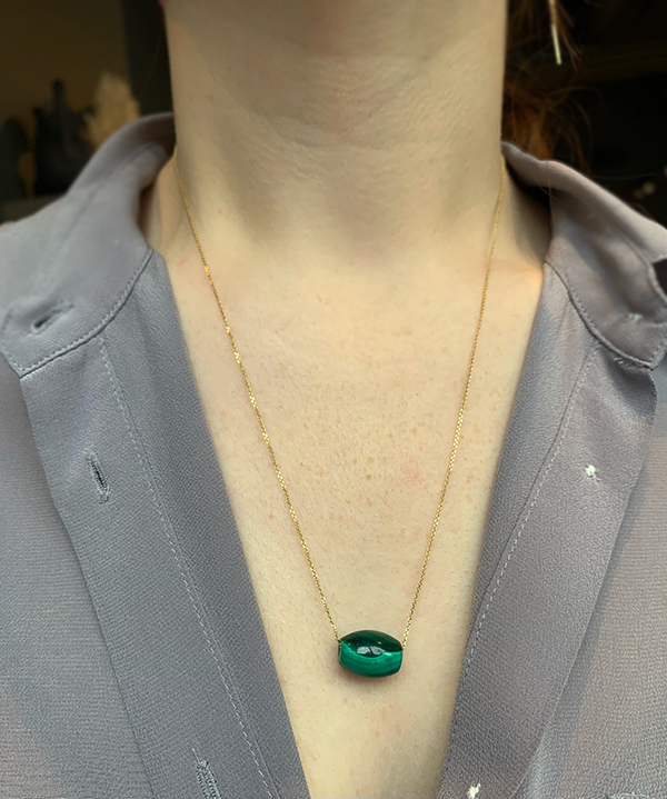 Gem Token 14k Malachite Necklace
