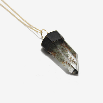 Gem Token Phantom Quartz Crystal Necklace