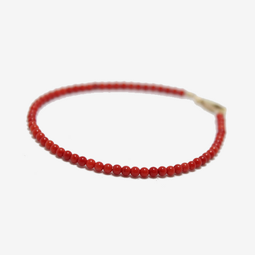 Gem Token Beaded Coral Bracelet