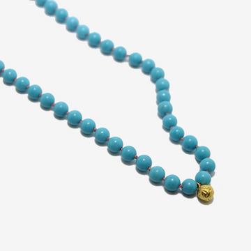 Gem Token Hand-knotted Turquoise + 18k Gold Charm Necklace