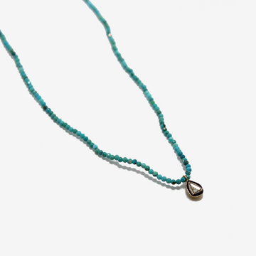 Gem Token Beaded Turquoise + Diamond Charm Necklace