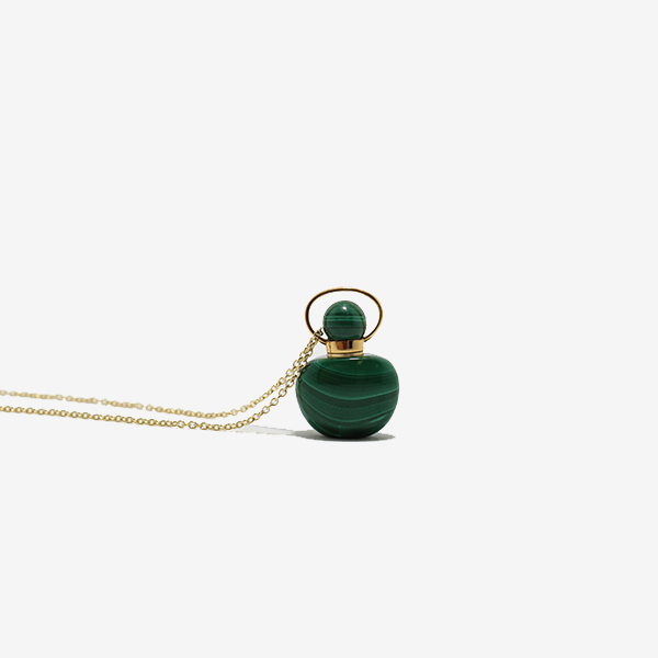 Malachite Gemstone Essential Oil Vessel Necklace