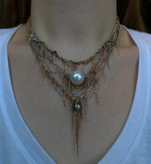 Martin Bernstein Tahitian Pearl Necklace modeled on a woman's neck