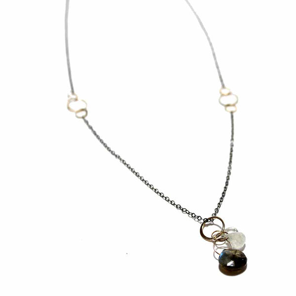 Melissa Joy Manning Mixed Metal Gemstone Necklace