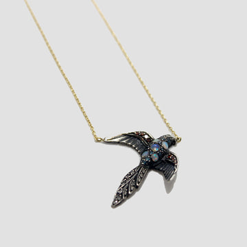 swallow necklace with opals + red diamonds