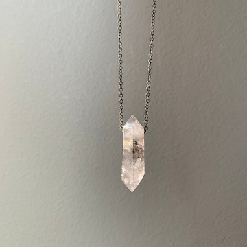 Oxidized Silver Phantom Quartz Crystal Necklace