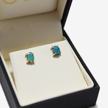 Petite Baleine 14k Boulder Opal Stud Earrings