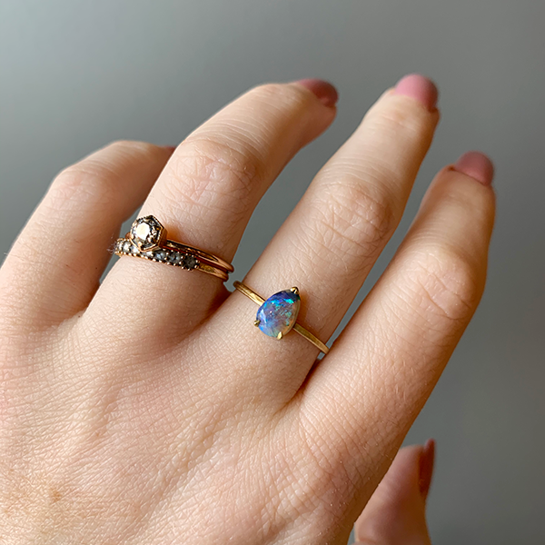 Petite Baleine 18k Gold Pear Cut Opal Ring