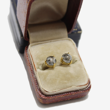 Petite Baleine 18k Round Salt & Pepper Diamond Earrings
